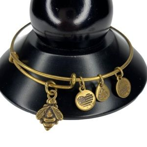 Alex and Ani Bumble Bee Charm Gold Tone Bracelet